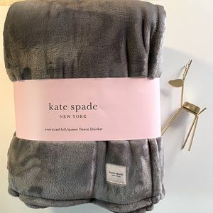 Kate Spade Oversize Full/Queen Gray Fleece Blanket